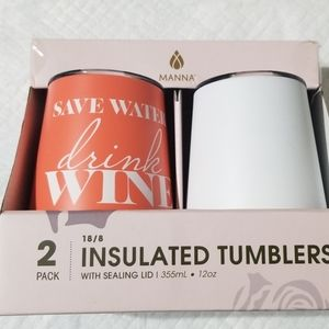 Manna 2 pack insulated tumblers w/sealing lid.